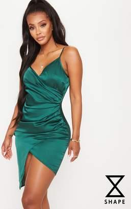PrettyLittleThing Shape Emerald Green Satin Wrap Dress