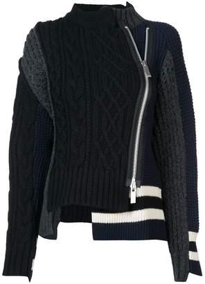 Sacai (サカイ) - Sacai zip-up patch knit sweater