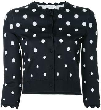 Oscar de la Renta scalloped polka dot cardigan