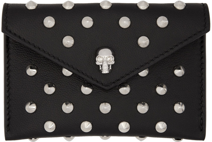 Alexander McQueen Alexander McQueen Black Skull Studded Envelope Card Holder