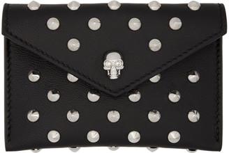 Alexander McQueen Black Skull Studded Envelope Card Holder $245 thestylecure.com