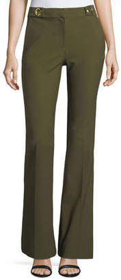 Derek Lam 10 Crosby Flared Crepe Trousers with Grommet Details