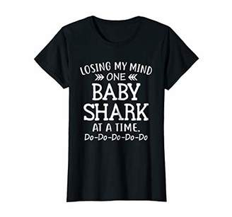 Womens Losing My Mind One Baby Shark At A Time Funny Mom T-shirt