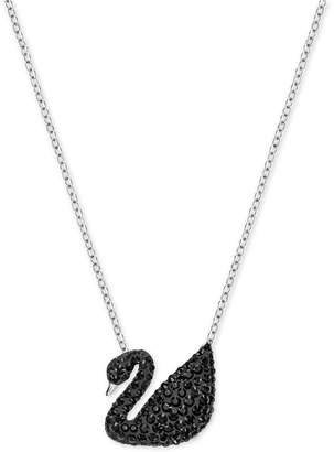 Swarovski Two-Tone Black Pave Iconic Swan Pendant Necklace