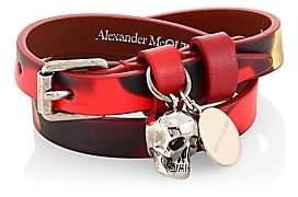 Alexander McQueen Women's Skull Pendant Double Wrap Leather Bracelet