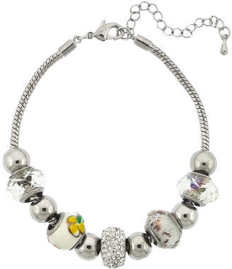 SPARKLE ALLURE Dazzling Designs Silver-Plated Artisan Glass Bead Bracelet