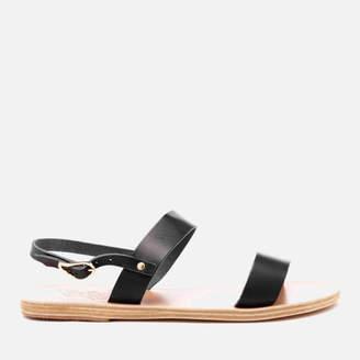 Ancient Greek Sandals Women's Clio Double Strap Vachetta Leather Sandals Marine