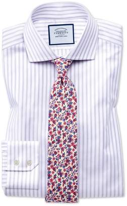 Charles Tyrwhitt Slim Fit Spread Collar Textured Stripe Lilac and White Cotton Dress Shirt Single Cuff Size 15/34