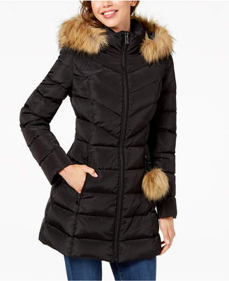 INC International Concepts I.n.c. Faux-Fur-Trim Quilted Puffer Coat