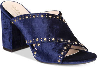 Cole Haan Gabby Studded Slip-On Block-Heel Sandals