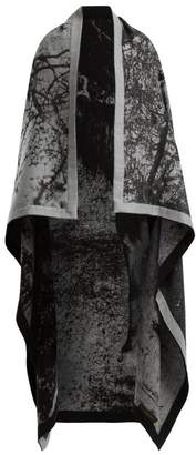 Mary Mccartney - Horse Print Wool And Silk Blend Blanket Scarf - Womens - Black White