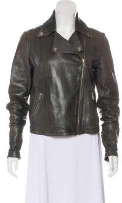 Massimo Dutti Collared Leather Jacket