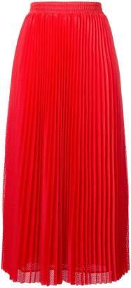 RED Valentino long pleated mesh skirt