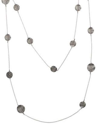 "Michael Aram Botanical Leaf Long Black Diamond Station Necklace, 36""L"