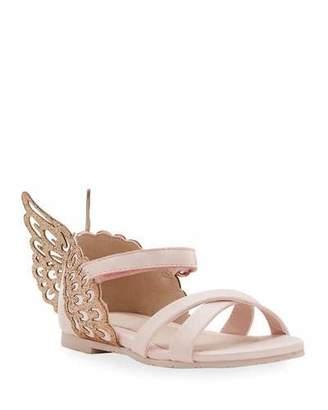 Sophia Webster Evangeline Glittered Butterfly-Wing Leather Sandals, Toddler