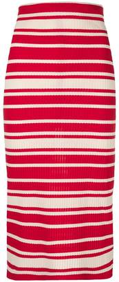 Prada striped rib knit midi skirt