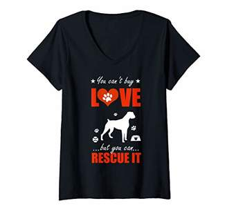Womens Boxer Dog Shirts - You Can't Buy Love But You Can Rescue It V-Neck T-Shirt