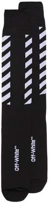 Off-White long diagonal logo socks