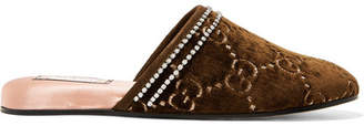 Gucci Rogue Embellished Logo-jacquard Slippers - Brown
