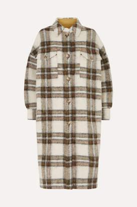 Etoile Isabel Marant Gabrion Oversized Checked Brushed-felt Coat - Army green