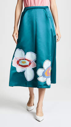 Mira Mikati Satin Flower Midi Skirt