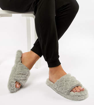 Asos Design DESIGN NITA Wide Fit quilted loungewear slippers