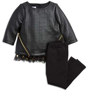 Pippa & Julie Girls' Quilted Faux-Leather Top & Leggings Set - Little Kid