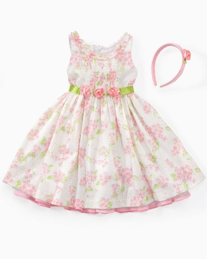 Little Bitty Little Girl Pink Floral Easter Dress with Headband