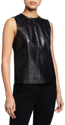 Elie Tahari Kai Sleeveless Leather Ponte Blouse