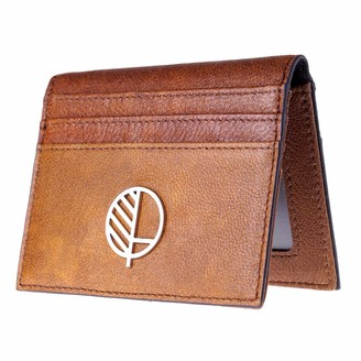 Drew Lennox Real British Leather Compact Wallet and 9 Slot Card Holder with ID Window In Rustic Brown
