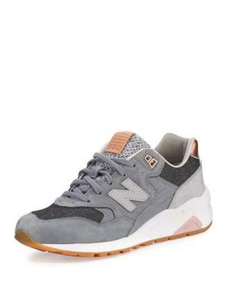 New Balance 580 Suede Low-Top Sneaker, Gray $180 thestylecure.com