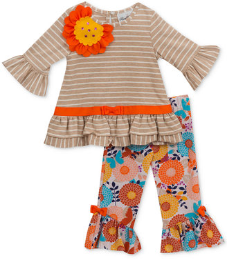 Rare Editions 2-Pc. Striped Top & Floral-Print Leggings Set, Baby Girls (0-24 months) $50 thestylecure.com