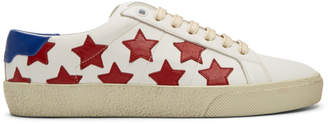 Saint Laurent White and Red Court Classic SL/06 California Sneakers