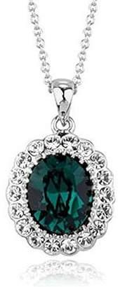 Swarovski Signore-Signori® Signore-Signori Oval Green Pendant Necklace made With Elements Crystal 18k Plated