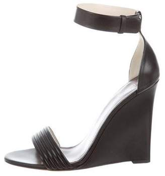 Celine Leather Ankle-Strap Wedges