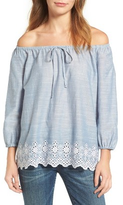 Women's Nydj Eyelet Embroidered Off The Shoulder Top $98 thestylecure.com