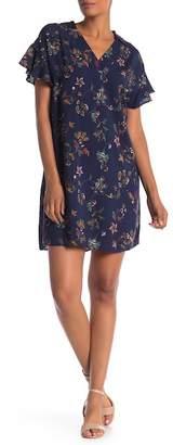 Bobeau Short Sleeve Printed Shirt Dress