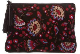 Loeffler Randall Embroidered Suede Clutch
