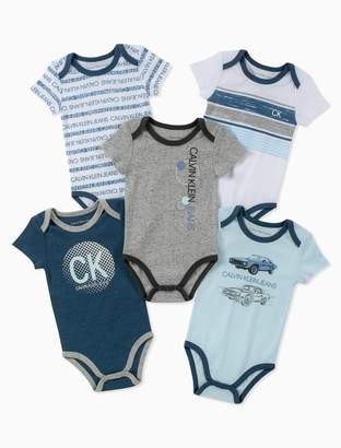 Calvin Klein baby boys 5-pack assorted car logo short sleeve onesies