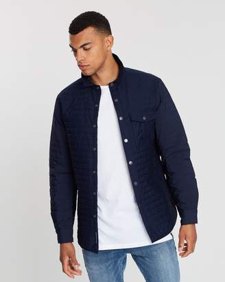 Quilted Shirt Jacket in Mixed Technical Ripstop