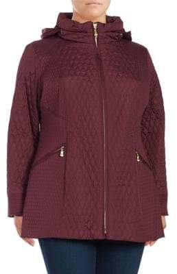 Ellen Tracy Plus Mixed Quilted Barn Coat
