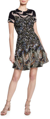 Valentino Floral-Print Fit-and-Flare Knit Dress