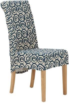OKA Tutuila Linen Slip Cover For Echo Dining Chair - Blue