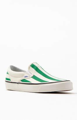 Vans White & Green Striped Anaheim Factory Slip-On 98 DX Shoes