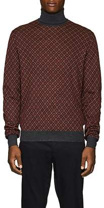 Prada Men's Argyle Wool Turtleneck Sweater