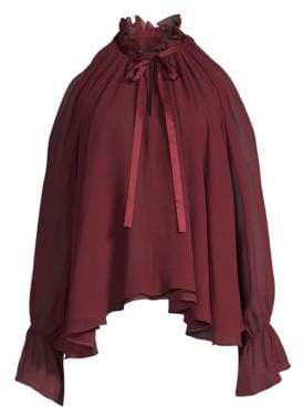 Ramy Brook Blaine Shirred Silk Cold-Shoulder Blouse