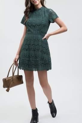 Blu Pepper Mock Neck Lace Dress