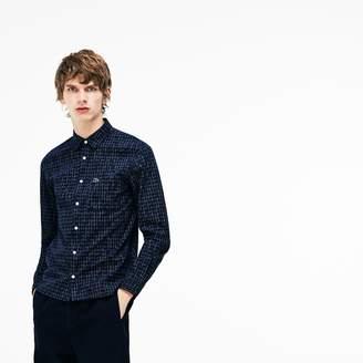 Lacoste Men's Slim Fit Faded Ikat Print Poplin Shirt