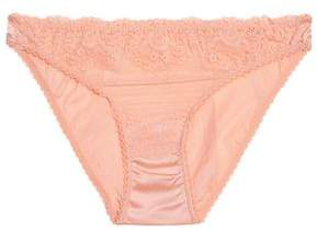 Mimi Holliday Low-Rise Lace-Trimmed Satin Briefs
