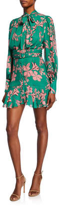 Alexis Tisdale High-Neck Floral Button-Front Dress